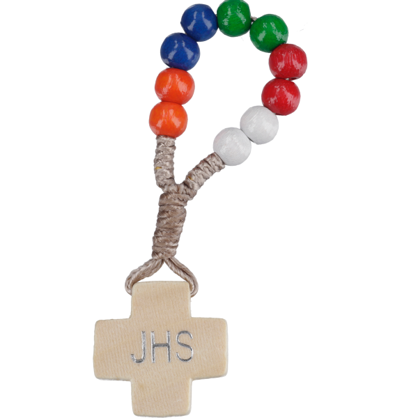 Zehnerrosenkranz geknüpftHolzperle, bunt, 6mm, 7cm
