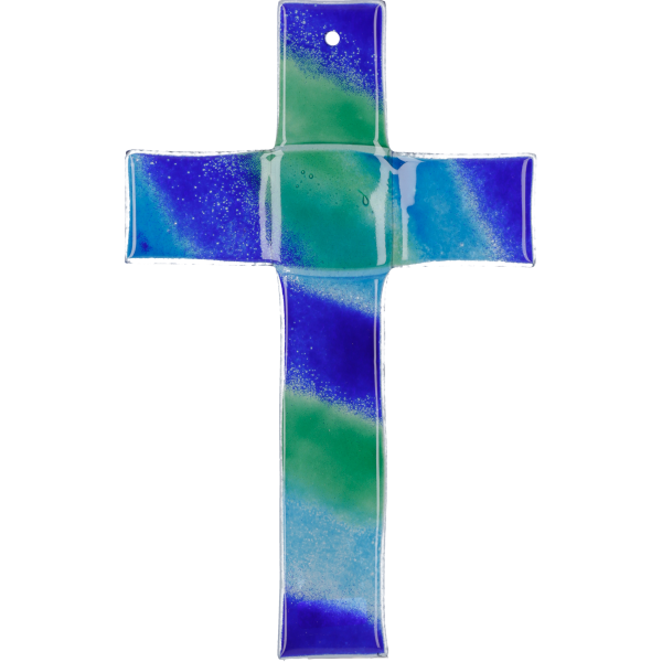 Hängekreuz, Glaskreuz blau,grün,türkis