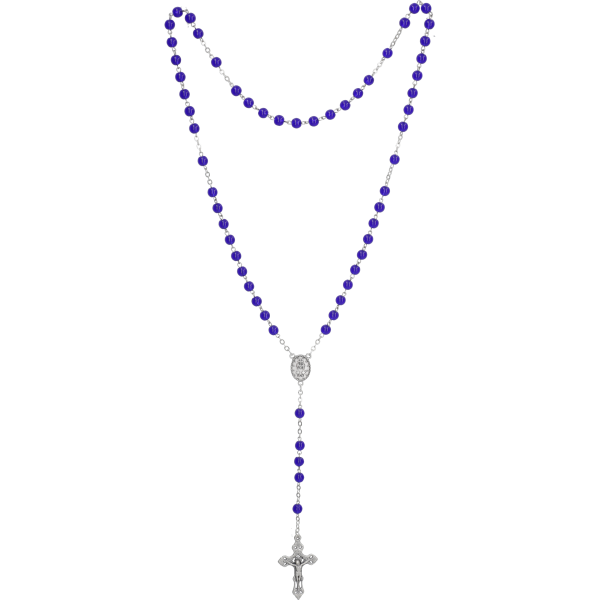 Rosenkranz gekettelt, Glasperle blau6mm, Länge 47cm