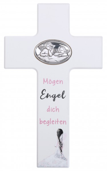 """Kinderkreuz """" Mögen Engel...""""20x12 cm Schrift rosa"""