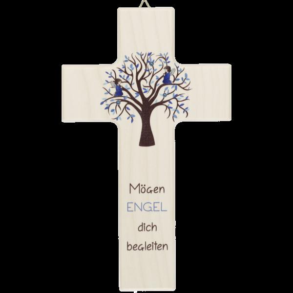 "Kinderkreuz ""Mögen Engel.."" blauLebensbaum"