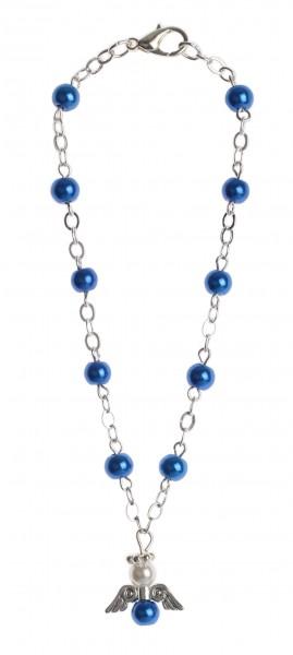 Armband, Wachsperle blau, Schutzengel