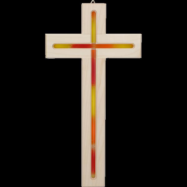 Hängekreuz, Ahornholz, natur, 31x16x2 cmdurchgefräst, mit Glaseinlage orange