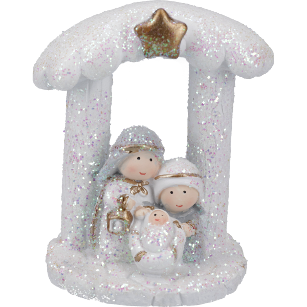 """Glitzerkrippe """"Bethlehem"""", ca. 6 cm hochVE 3 Stück, in Einzelverpackung"""
