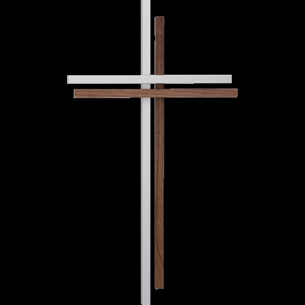 Wandkreuz 35x21cm,Aluminium/NußbaumAusführung modern