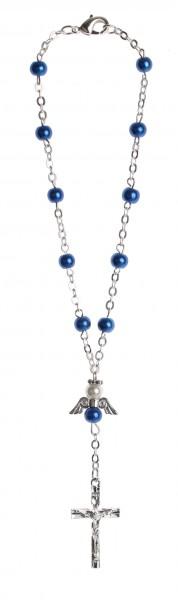 Zehnerrosenkranz Wachsperle blau mit Engel-Herzzeichen