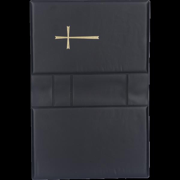 Gebetbucheinband, Kunststoff schwarzmit goldenem Kreuz, VE = 3 Stück