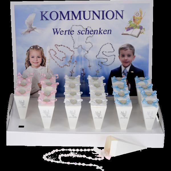 Koummnion Display Rosenkranz, GlasperleVE 24 Stück, rosé, blau, weiß