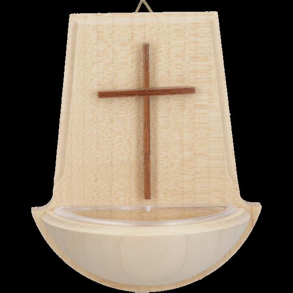 Weihwasserkessel mit schmalem KreuzAhornholz natur, 10 cm