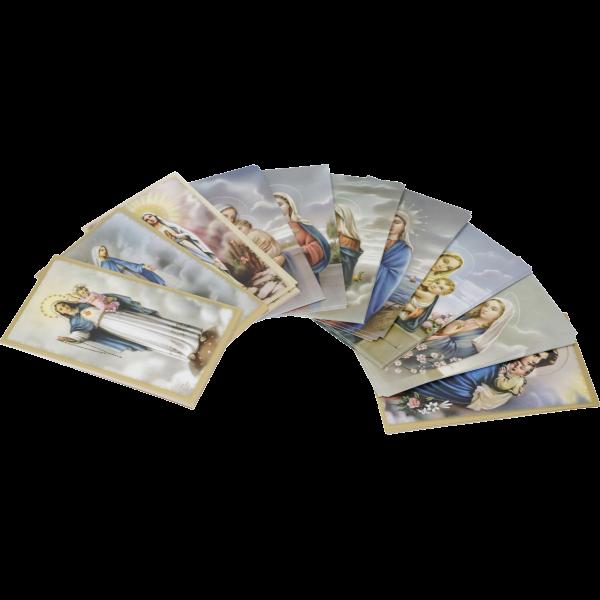 Marienbildchen, 100 Stück sortiertPapier, bunt bedruckt, 6 x 10,2 cm