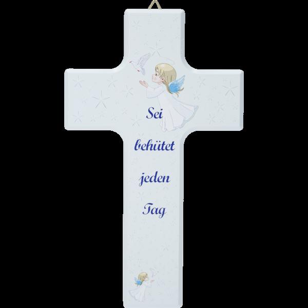 """Kinderkreuz """"Sei behütet ...""""Ahornholz, blau lackiert, 15 x 9 cm"""