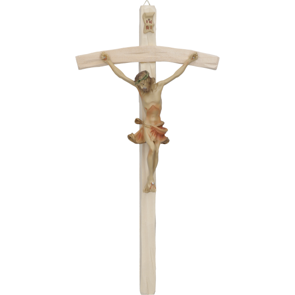 Hängekreuz, Lindenholz, gebeizt 25 cmmit Kunstharz-Korpus. natur 11 cm