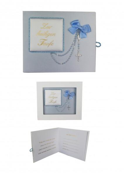 Taufbrief blau mit Rosenkranz