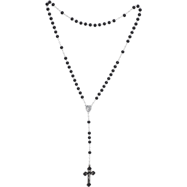 Rosenkranz gekettelt gelötet AlpaccaHolzperle, schwarz, 5mm, 37cm