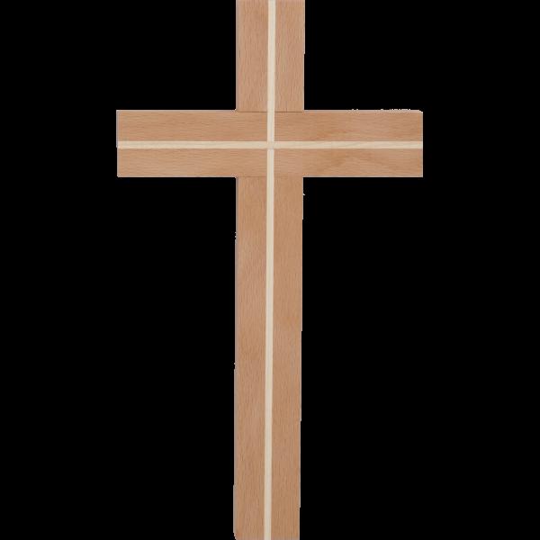 Hängekreuz, Buchenholz, 25x15x3 cmmit Einlage Ahornholz
