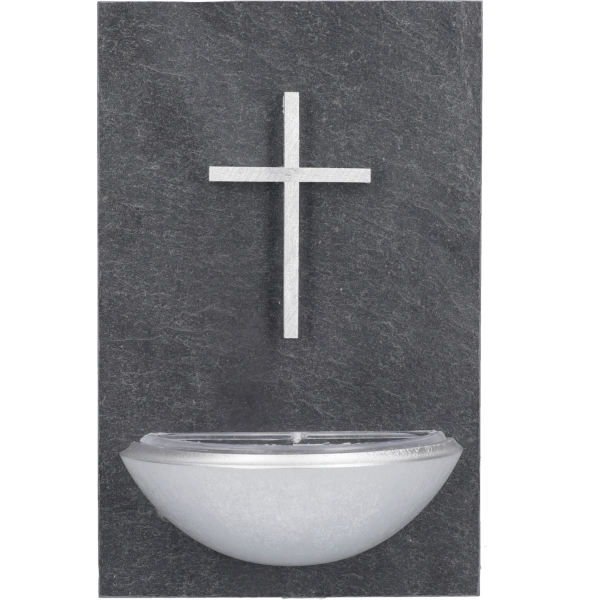 Weihkessel 14x9cm, Schiefer/HolzMotiv: Kreuz silber