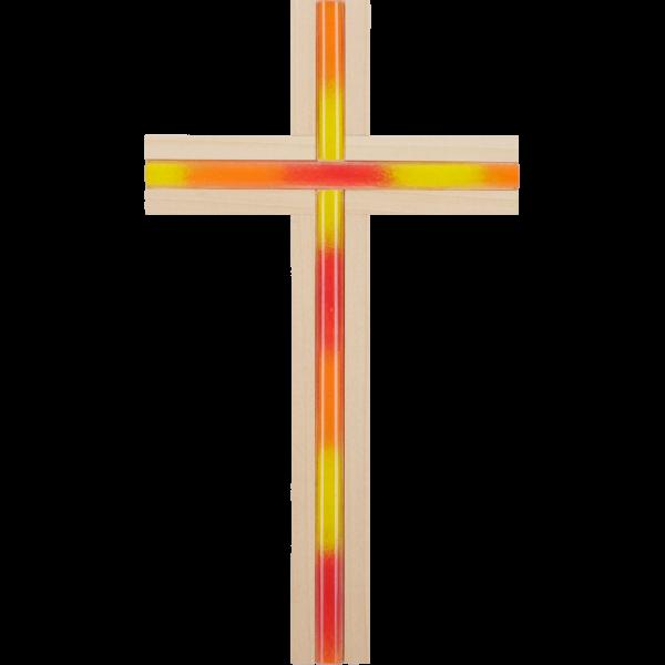 Holzkreuz Linde mit Glaseinlage orange
