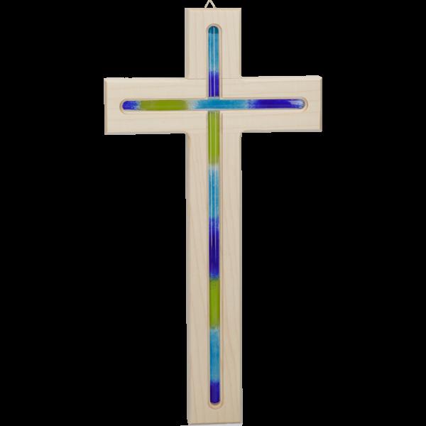 Hängekreuz, Ahornholz, natur, 31x16x2 cmdurchgefräst, mit Glaseinlage blau