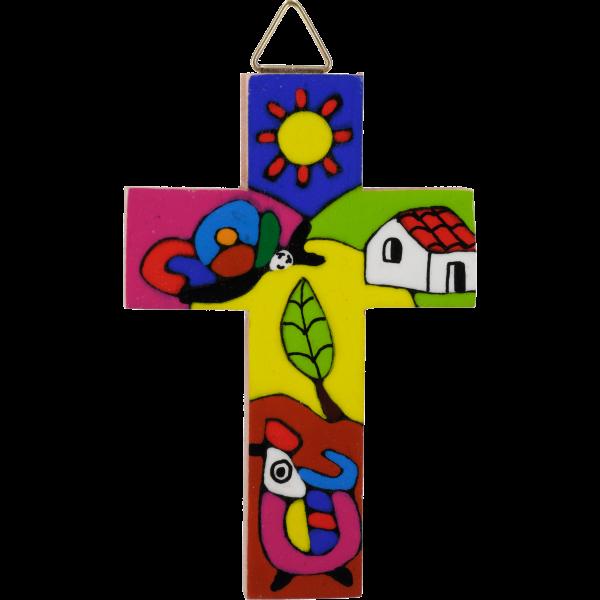 Kinderkreuz handbemalt, sortiertHolz, lackiert, 8 cm