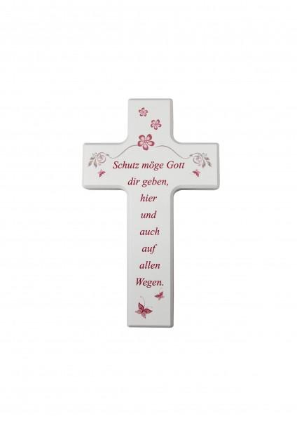 """Kinderkreuz """"Schutz möge.."""" klein weiß"""