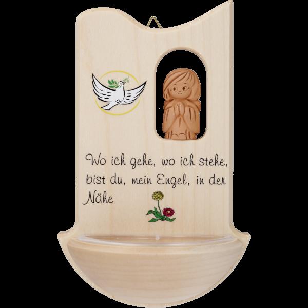 """Kinderweihkessel mit Tonengel  """"Wo ichgehe ..."""", Ahornholz, 14 cm, im GK"""