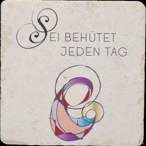 """Natursteintafel, Kalkstein 13x13cmMadonna modern, bunt """"Sei beh..."""""""