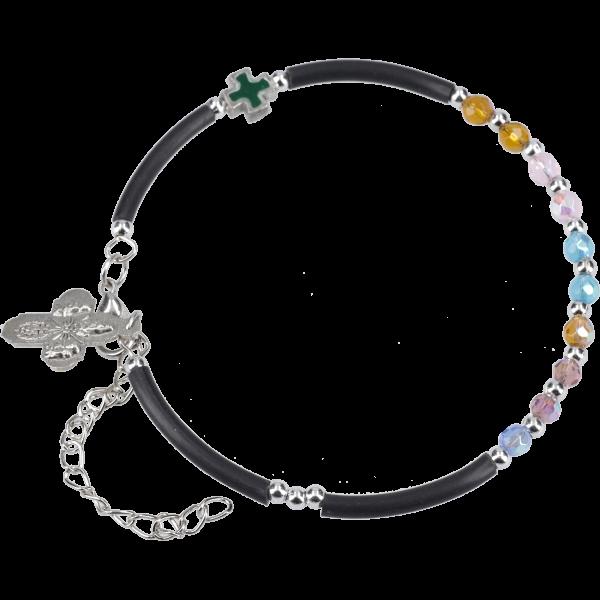 Armband mit 10 bunten Glasperlen, Kaut-schuksegm., Kreuzanh. u. Karabiner