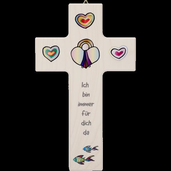 """Kinderkreuz 20x12cm,Ahornholz naturMotiv:Engel mit Herz """"Ich bin..."""""""