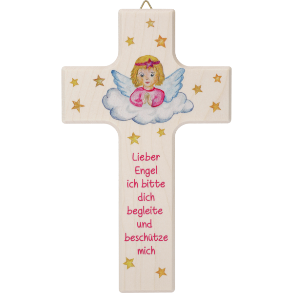 "Kinderkreuz Mädchen ""Lieber Engel ...""Ahornholz, natur, 15 x 9 cm"