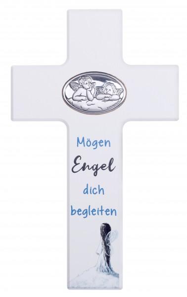 "Kinderkreuz ""Mögen Engel...""20x12 cm Schrift blau"