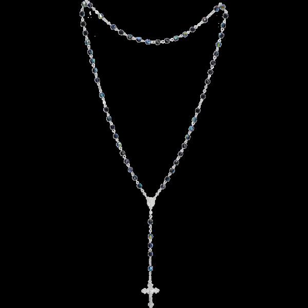 Rosenkranz gekettelt gelötet AlpaccaGlasschliffperle, blau-iris, 6mm, 39cm