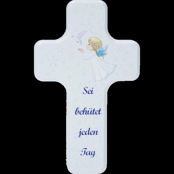 """Kinderkreuz """"Sei behütet ...""""Ahornholz, blau lackiert, 10 x 6 cm"""