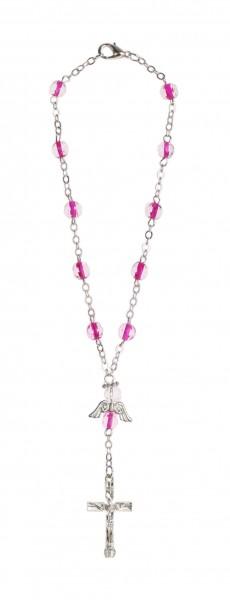 Zehnerrosenkranz Glasschliffperle lila mit Engel-Herzzeichen