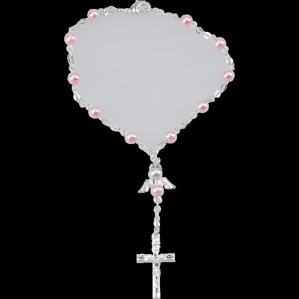 Zehner-RK Ankerkette m. Engel-HZWachsperle, rosa, 5mm, 17cm