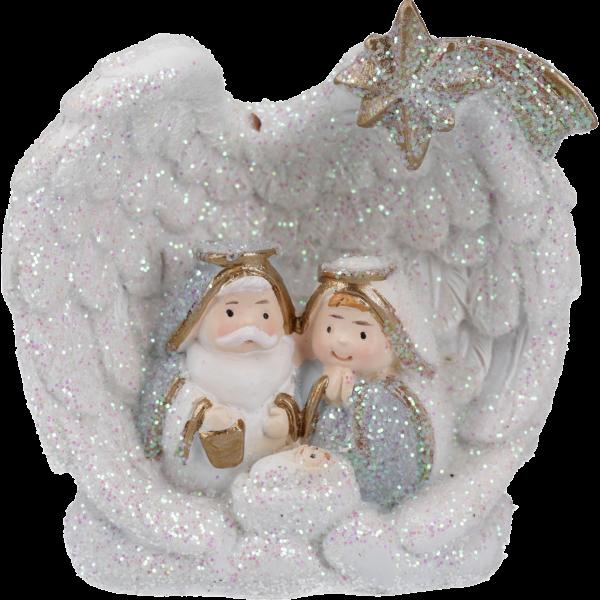 """Glitzerkrippe """"Krippenszene-Engel"""", 6 cmVE= 3 St.,St.2,29,einzeln im Geschenkkt."""