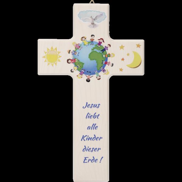 """Kinderkreuz """"Alle Kinder dieser Welt""""Aus Ahornholz, 20x12cm"""
