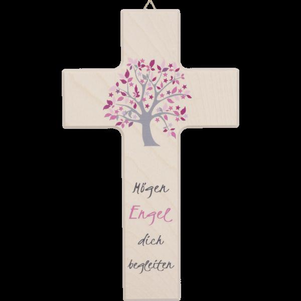 """Holzkreuz, natur, """"Mögen Engel"""""""