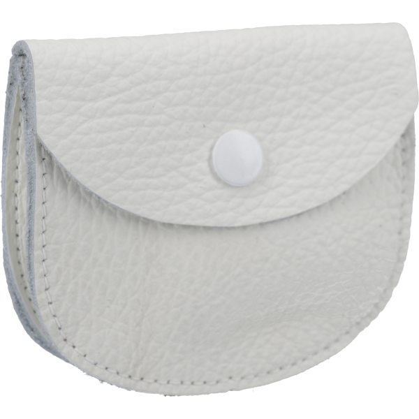 Lederetui mit Steg, Farbe WeißOhne Prägung, m. Druckknopf, 8x7cm