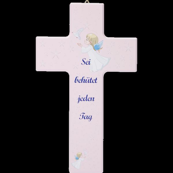 """Kinderkreuz """"Sei behütet ...""""Ahornholz, rosa lackiert, 20 x 12 cm"""