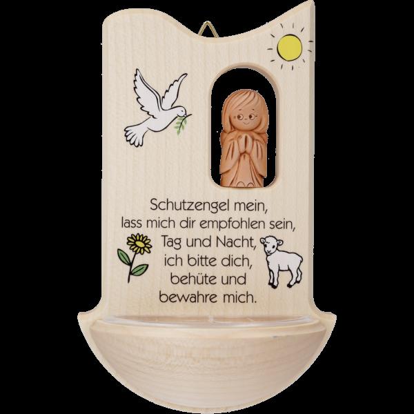 """Kinderweihkessel mit Tonengel """"Schutz-engel mein ..."""", Ahornholz, 14 cm, im GK"""