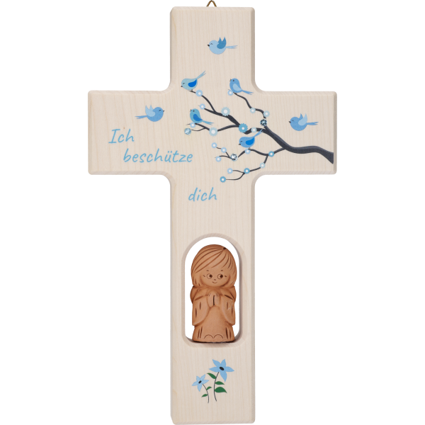 Kinderkreuz, Ahornholz, Lebensbaum Kind20x12cm, blau, Swarovski