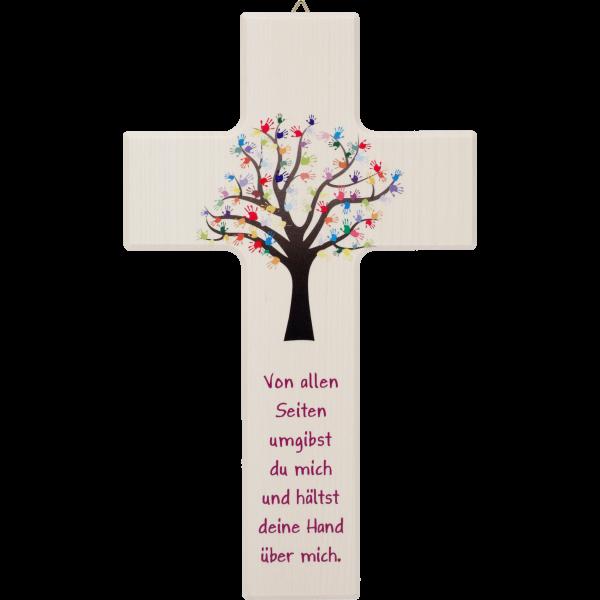 Kinderkreuz 15x9cm,Ahornholz naturMotiv: Lebensbaum Kinderhände