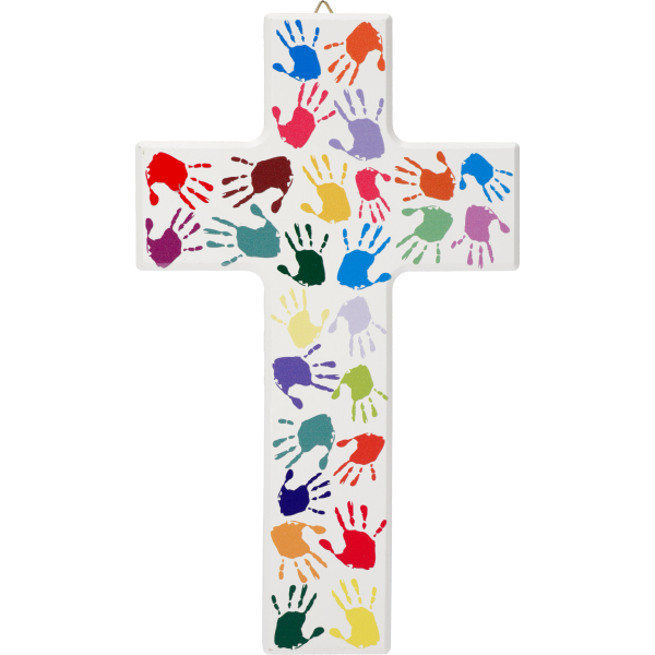 Kinderkreuz, Ahornholz, Kinderhände20x12cm, weiß