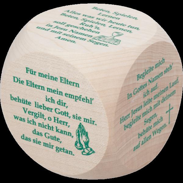Gebetswürfel MorgengebeteAhornholz natur, 1-fbg. bedruckt, 6x6 cm
