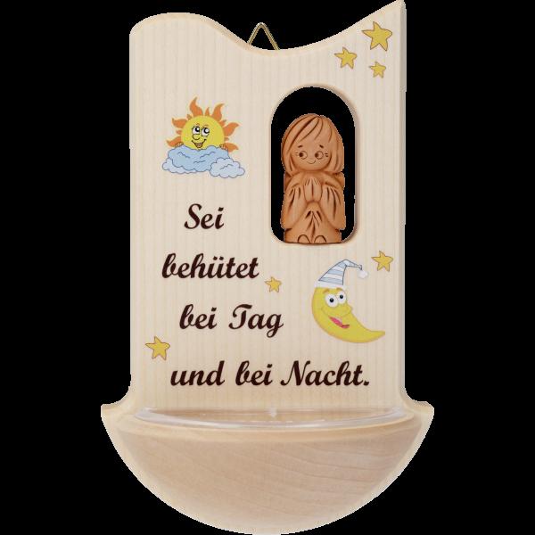 """Kinderweihkessel mit Tonengel """"Seibehütet ..."""", Ahornholz, 14 cm, im GK"""