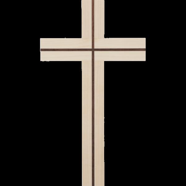Hängekreuz, Ahornholz, 25x15x3 cmmit Einlage Nussbaumholz
