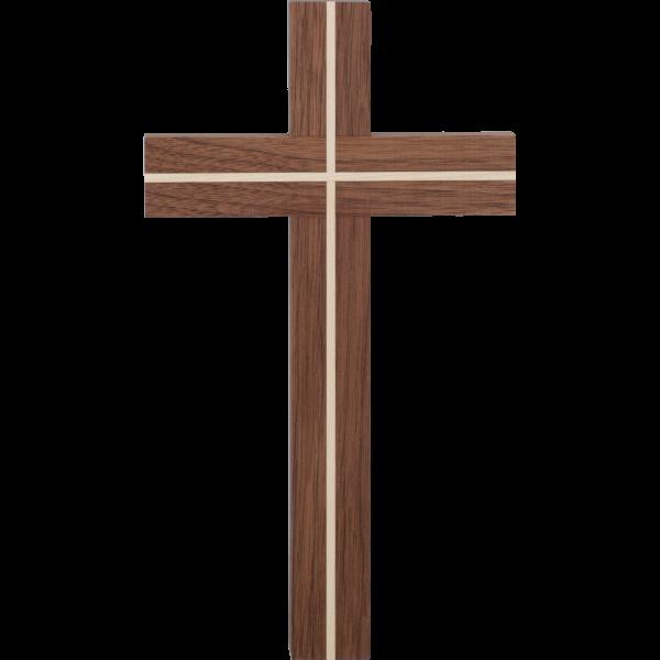 Hängekreuz modern, Nußbaum mit AhornKlar lackiert, 25cm Höhe