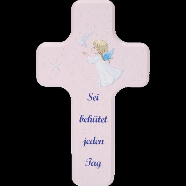 """Kinderkreuz """"Sei behütet ...""""Ahornholz, rosa lackiert, 10 x 6 cm"""