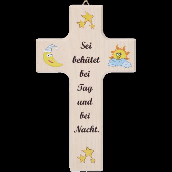 """Kinderkreuz """"Sei behütet ...""""Ahornholz, natur, 15 x 9 cm"""