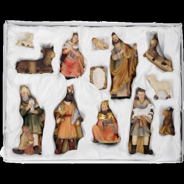 """Krippenfiguren """"Lukas"""", Kunstharzcoloriert, 17 cm, 12-teiliges Set im GK"""